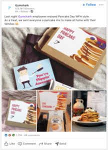 Pancake day kit direct mail sent by Gymshark to employees while working from home