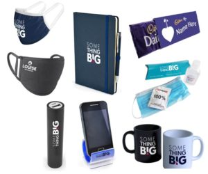ideas for a new employee welcome pack, including branded and personalised face masks, notebook, phone stand, hand sanitiser, mugs and chocolate bar